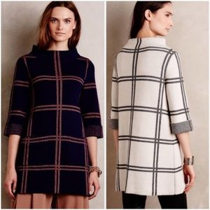 🍂 FALL NWT Anthropologie Paned Sweater Tunic Navy